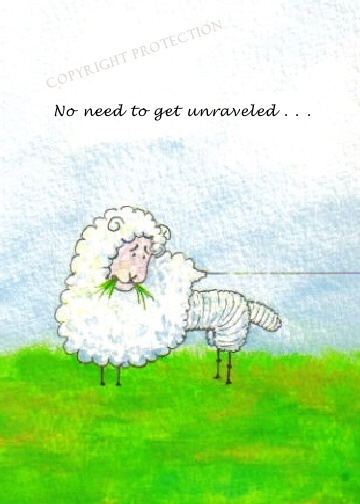 """Sheepish Grins Greeting Cards - watercolor of humorous sheep with half it's fleece gone - unraveling like a thread with the caption """"No need to get unraveled . . . """""""