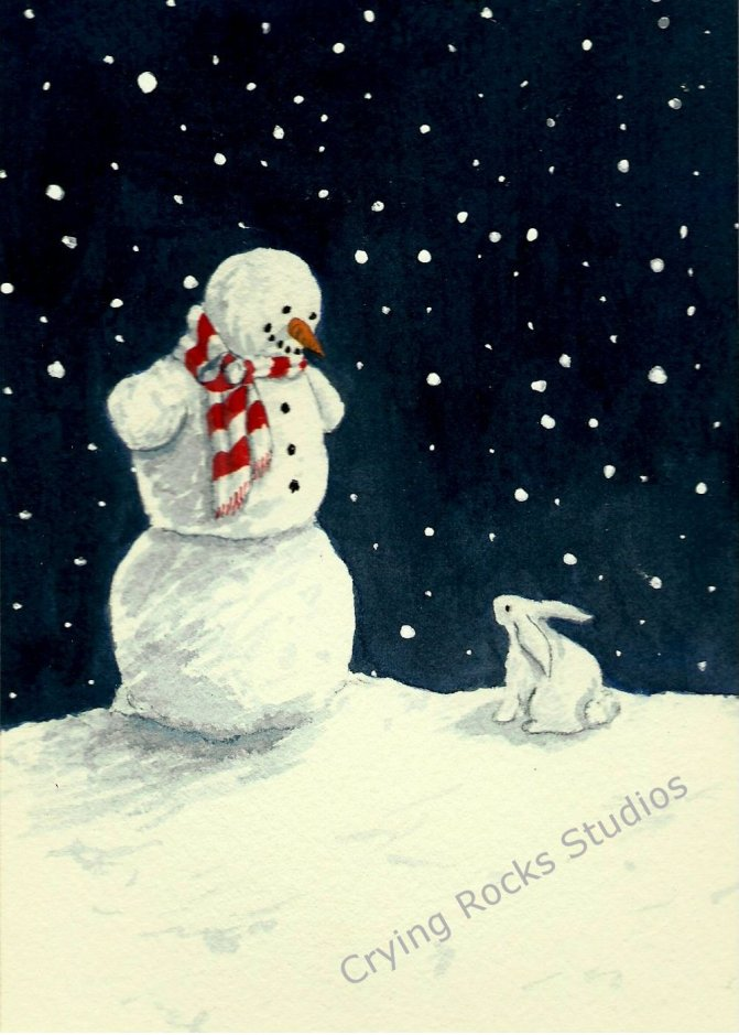 "Watercolor image of snowman and white rabbit looking at each other. Title is ""I wanna bite your nose."""
