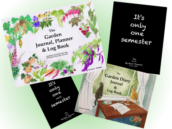 four journals showing garden journals and student planners